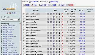 phpMyAdminインターフェイス2